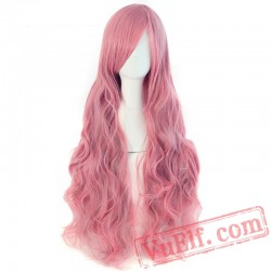Long Wavy Cosplay Wigs Bangs Pink Black Blue Brown Blonde Women Wig Hair