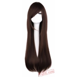 Long Straight Cosplay Wig Black Purple Pink Blue Sliver Gray Blonde White Orange Brown