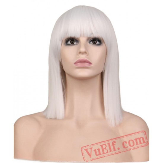 Short Straight Cosplay Wig Party Red Blonde Blue Green Pink