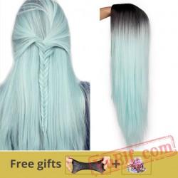 Green Straight Long Wigs Women Black Pink Cosplay Wigs