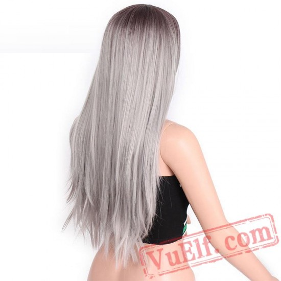Long Straight Grey Red Pink Black Wigs Women cosplay hair
