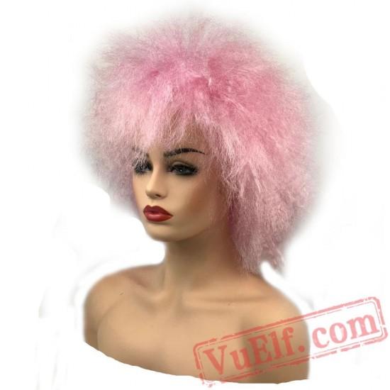Beauty Jumbo Afro Wig Hair Pink/Yellow Clown Wigs Cosplay Halloween