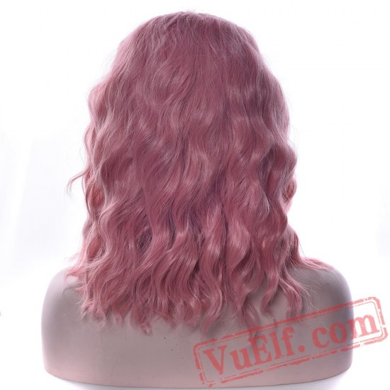 Wavy Gray Pink Wig Party Hair Red Black Green Women Cosplay Wigs