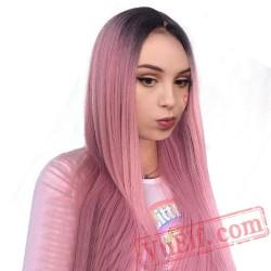 Pink Long Wigs Low Silky Straight Elastic Lace Long Pink Wigs Women