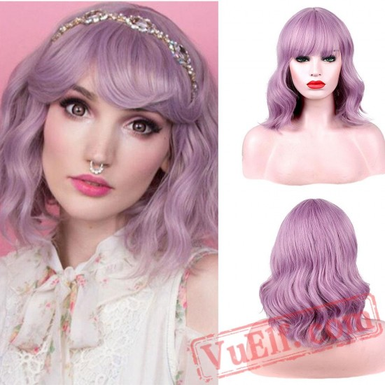 Purple Pink Natural Wave Short Bob Wigs Bangs White Women Curly Cosplay Wig