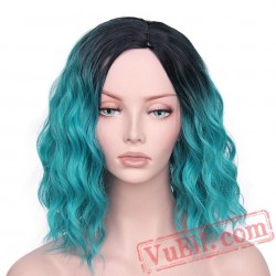Blue Wigs Short Brown Hair Women's Long Wave