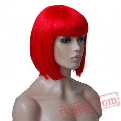 Beauty Red/Pink Wig Cosplay Women Hair short Bob party wig