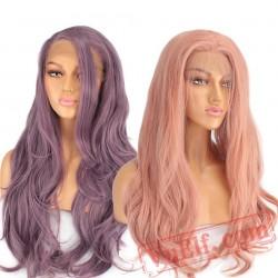 Lace Front Wig Long Pink Purple Orange Wigs Black Women Wave Hair