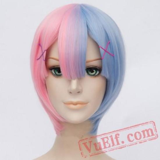 Beauty Cosplay Wigs Short Half Blue Half Pink Wigs