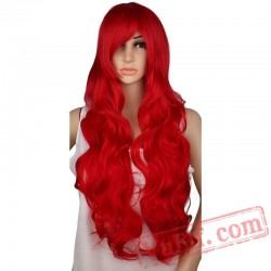 Long Curly Cosplay Wig Party Red Pink Sliver Gray Blonde Black