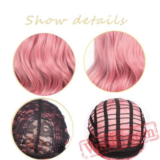 Women Pink Short Wig aisi Hair Long Wave