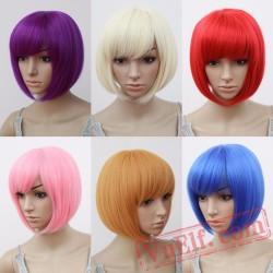 Bob Wig Oblique Fringe Bangs Short Wavy Wigs Pink Hair Women