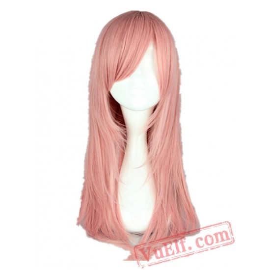 Pink Wig Medium Straight Inclined Bangs Hair Halloween