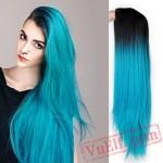 Blue Green Straight Long Wigs Women Black Pink Wigs