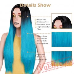 Blue Green Straight Long Wigs Women Black Pink Wigs