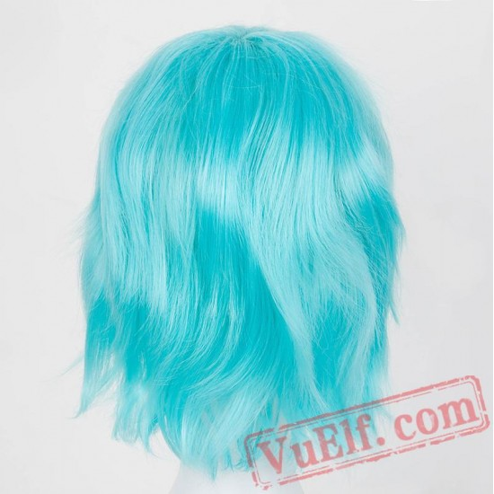 Short Wig Wavy Cos-play Sky Blue/Red/Pink/Purple/White Hair