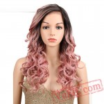 Gold Pink Wig Hair Long Lace Front Wigs Black Women