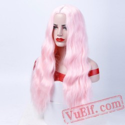Long Curly pink wigs Women Hair Party Cosplay Wigs