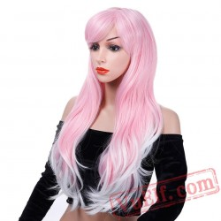 Long Wavy Pink Wigs African American Curly Cosplay Wigs