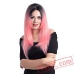 Pink Wig Straight Kanekalon Wigs Women