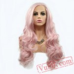 Pink Cosplay Long Hair Wave Lace Front Wigs Girls Ladies Women