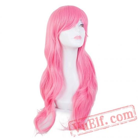 Pink Wig Long Wavy Bangs Hair Cartoon Halloween Carnival Cosplay