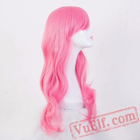 Pink Wig Long Curly Hair Women Perruque Cartoon Role Cosplay Party