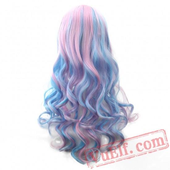 Long Women Hair Wigs Pink Blue Hair Cosplay Wig Peruca