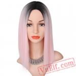 Black Pink Straight Wigs Short Black Hair Women