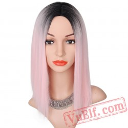 Black Pink Straight Wigs Short Black Hair Women