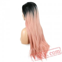 Long Straight Black Pink Wig Pastel Two Tone Lace Front Wigs