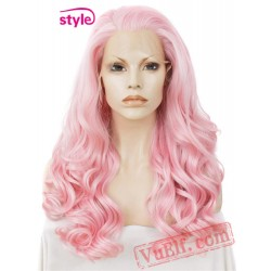 cosplay Loose pink wig Lace Front Wigs women