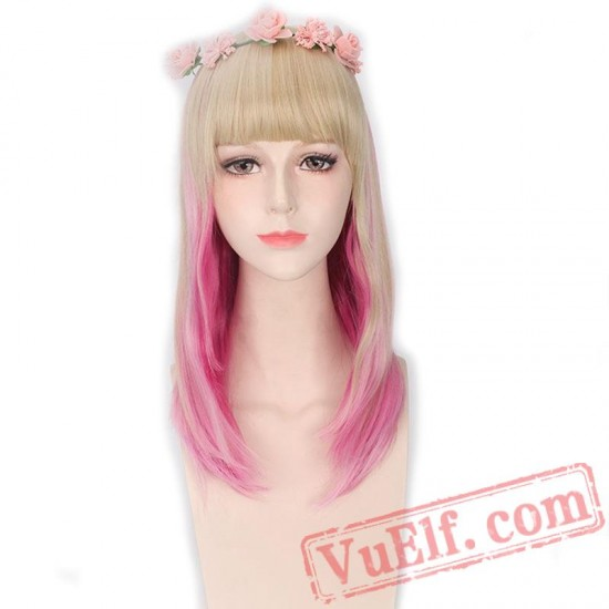 Blonde Pink Wig Bang Natural Hair Long Straight Wigs Women