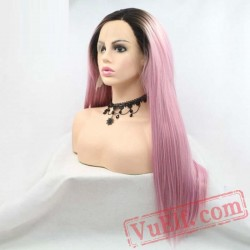 Pink Long Silky Straight Wigs Women Hair Dark Roots Lace Front Wigs