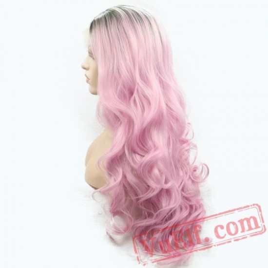 Cosplay Pink Wig Short Deep Wave Long Hair Natural Lace Front Wigs Women