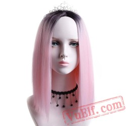 Bob Wigs Women African American Ladies Short Cosplay Pink Wig