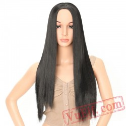 Long Straight Black Pink Wig African American