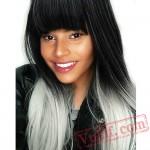 Long Straight Wig Bangs Pink Hair Grey Women Club Wig Cosplay