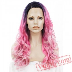 Loose Wavy Pink Lace Front Wig Drag Queen Cosplay Wigs Women