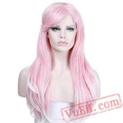 Long Rippled Pink Wigs African American Curly Cosplay Cap Wigs