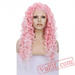 Pink Curly Lace Front Wigs Women Two Tone Lace Wig Cosplay