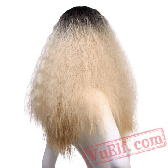 Afro Kinky Curly Wigs Long Hair Women Blond/Pink Wig