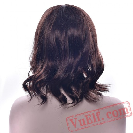 Short Brown Hair Curly Wig Pink Women's Hair Cosplay Wigs