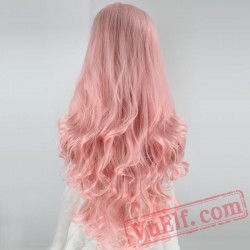 Peruca Perruque Pink Wigs Long Wave Lace Front Wig Women