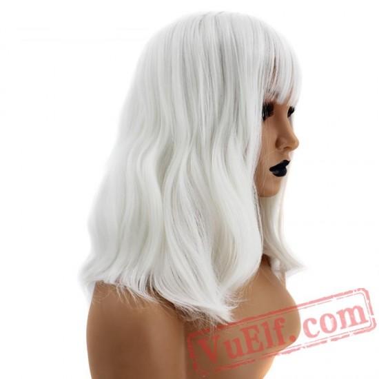 Pink Short Wave Bob Black Grey Wig White Women Bangs