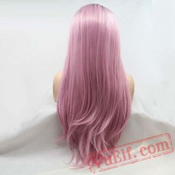 Pink Long Silky Straight Hair Wigs Lace Women Hair