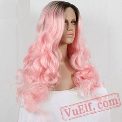 Pink Long Wave Wigs Natural Lace Front Wig Women