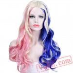 Harley Quinn Wig Mixed Blue Pink Long Wavy Wig
