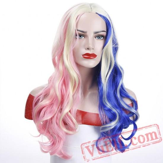 Harley Quinn Wig Mixed Blue Pink Long Wavy Wig