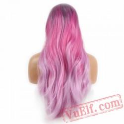 Dark Purple Pink Long Wave Wig Lace Front Women Wigs Lady